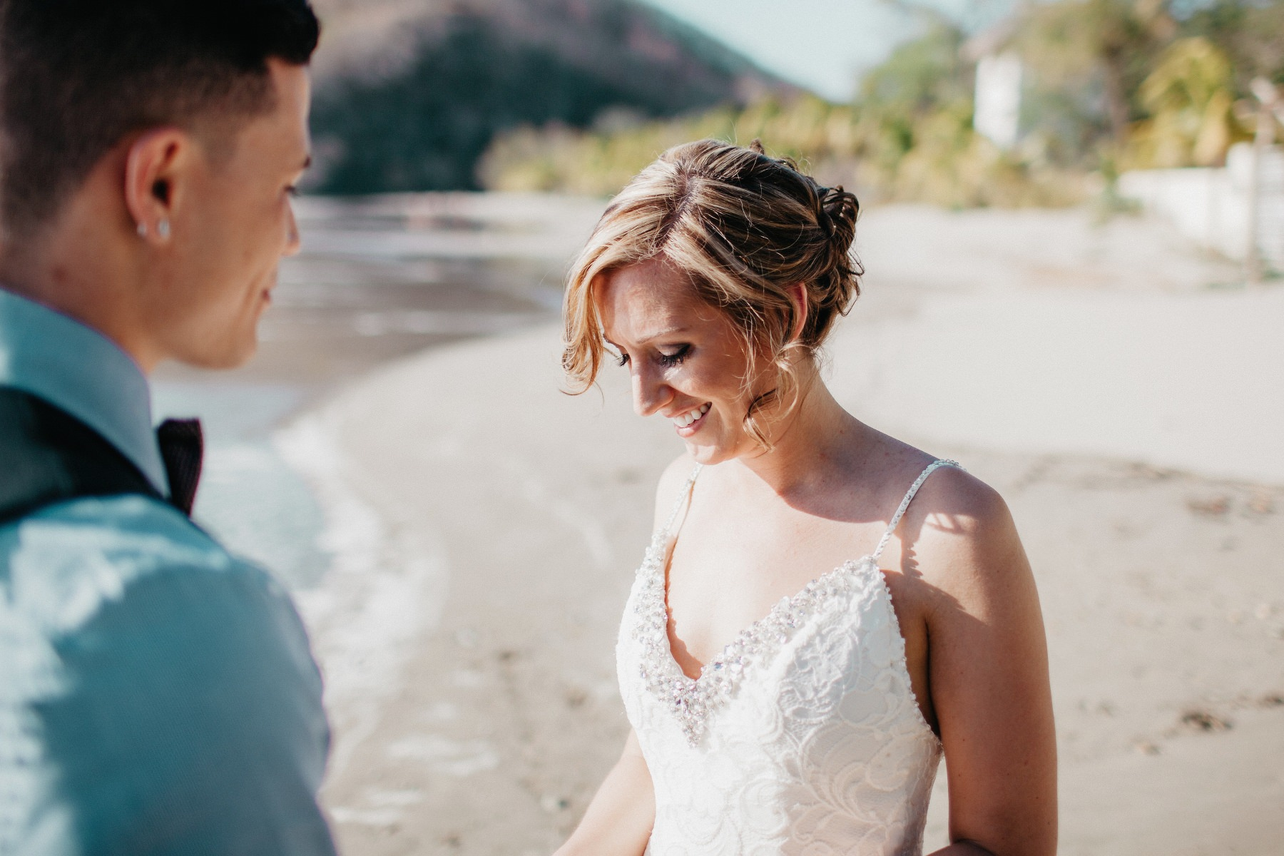 Beautiful bride during beach elopement in Costa Rica. Wedding dress details