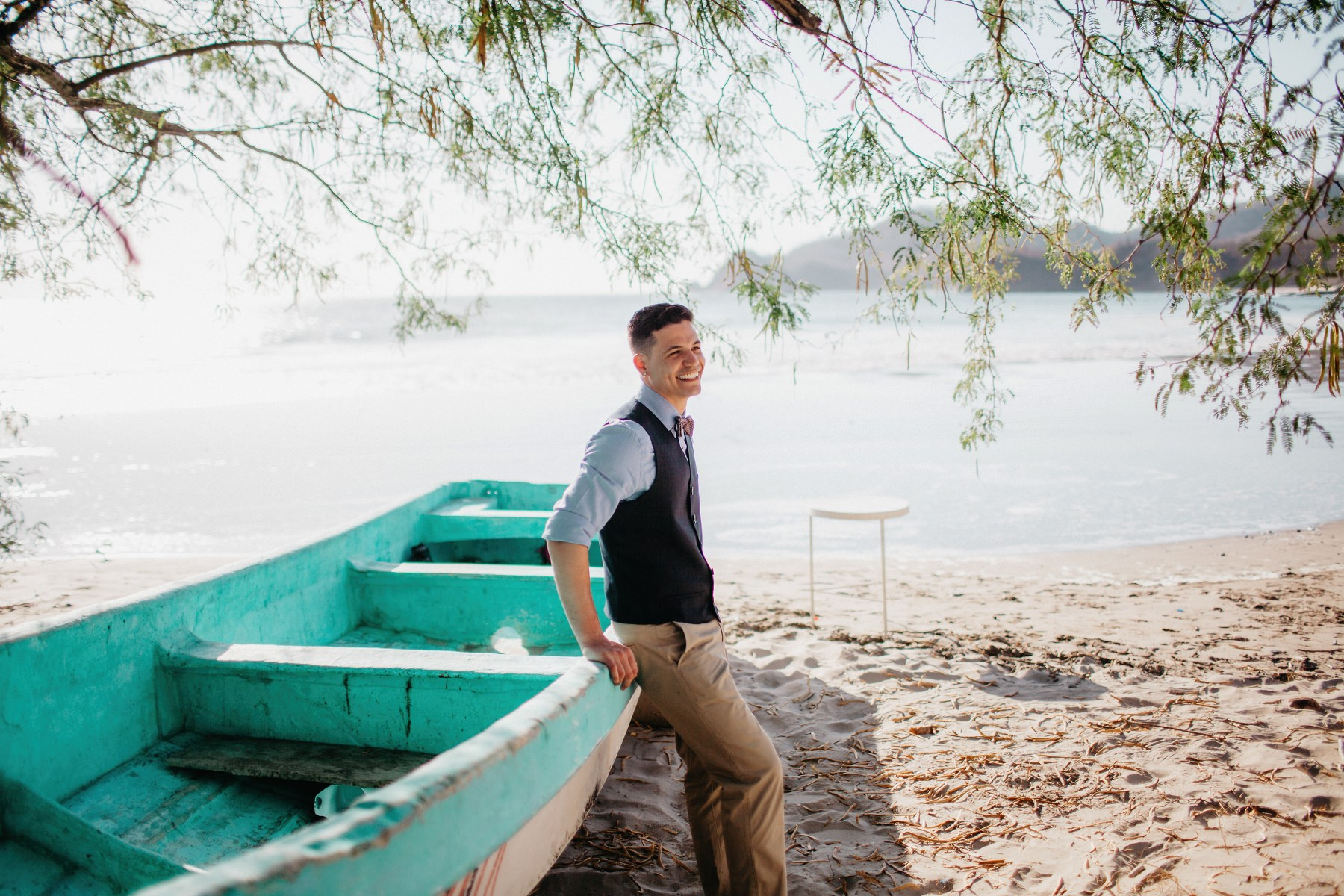 The groom waiting for the bride during a beach wedding in Costa Rica