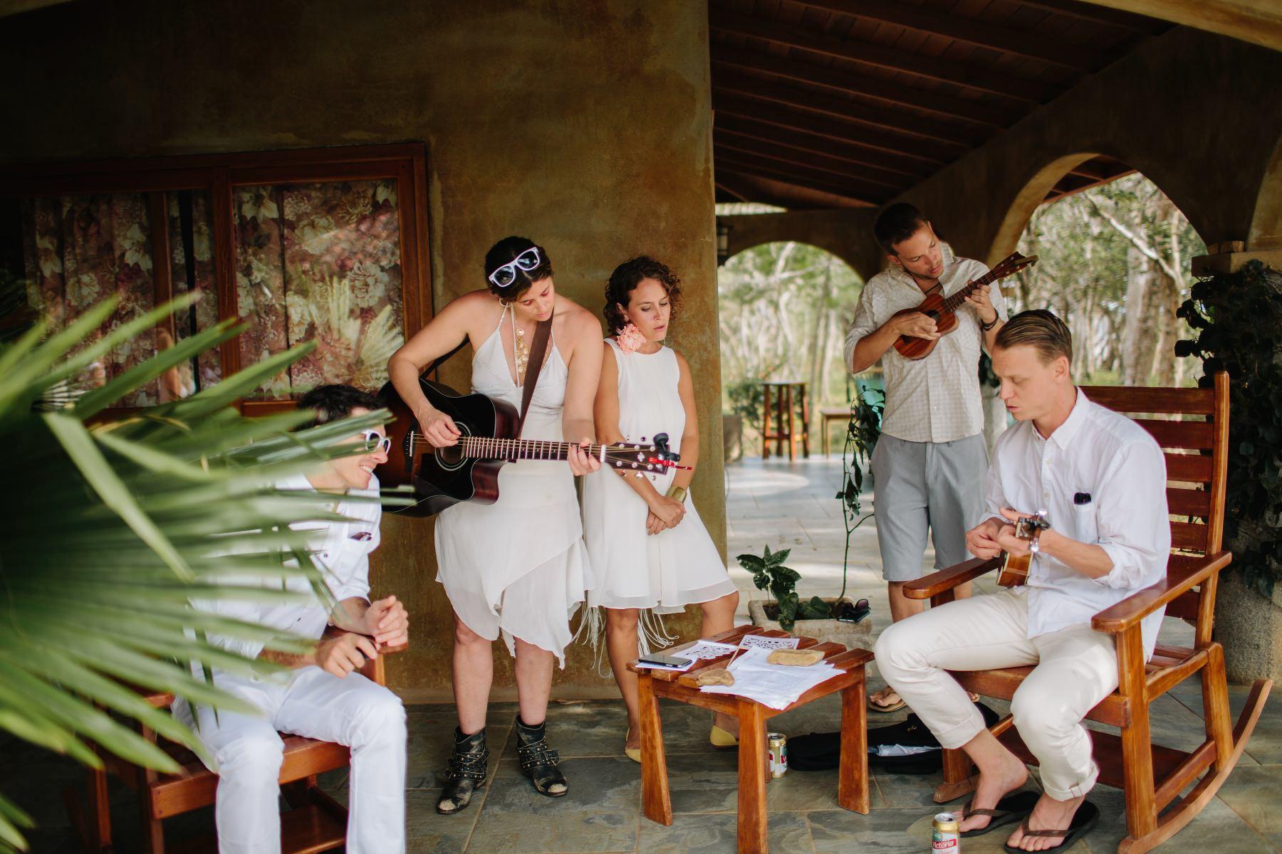 Boho wedding Costa Rica playing band