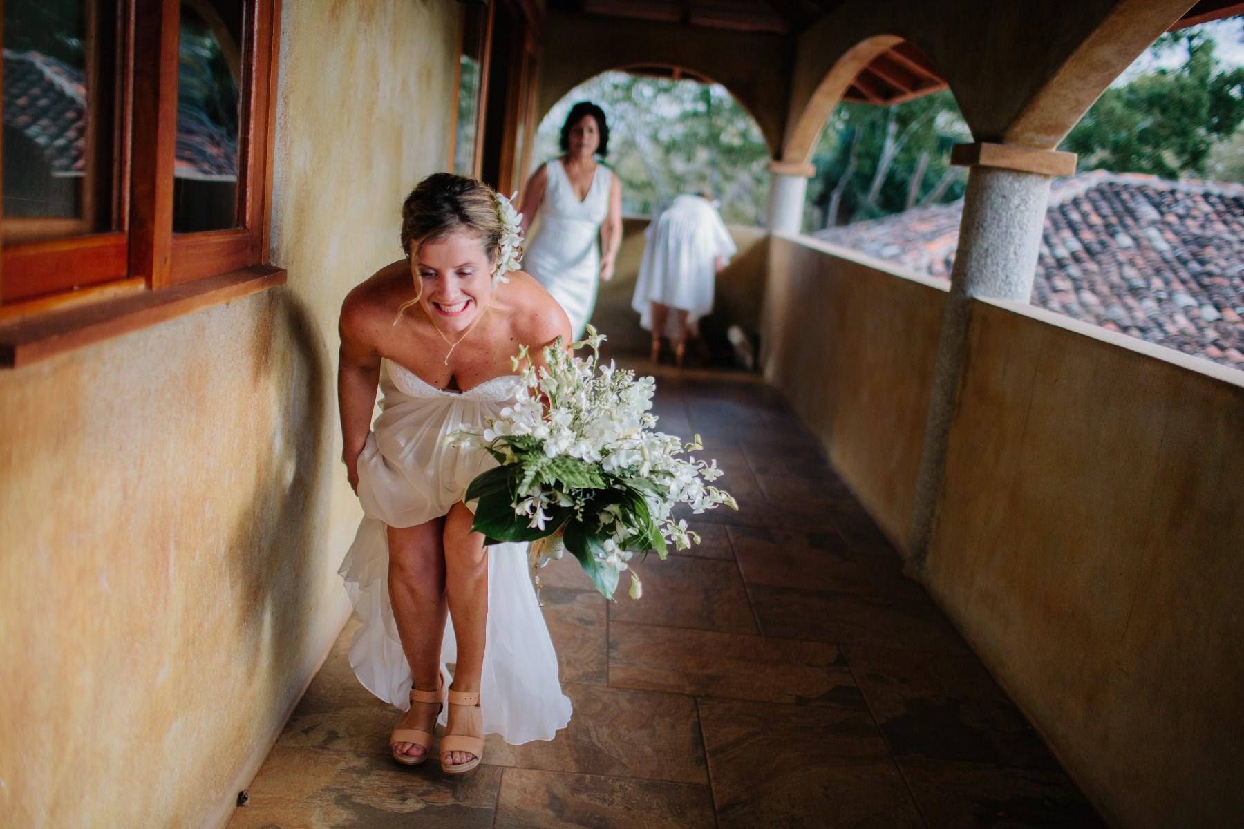 Bride sneaking for her destination wedding