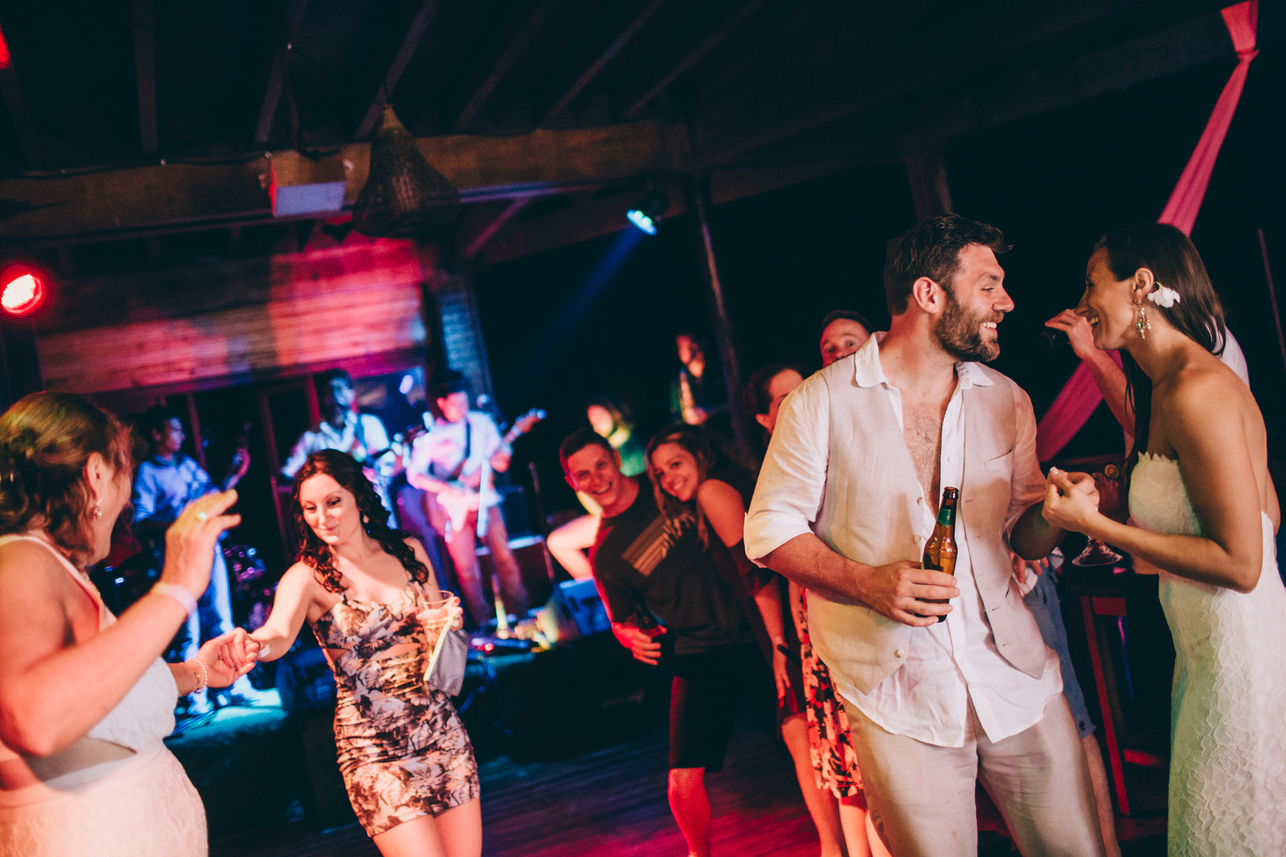 Costa Rica beach wedding party