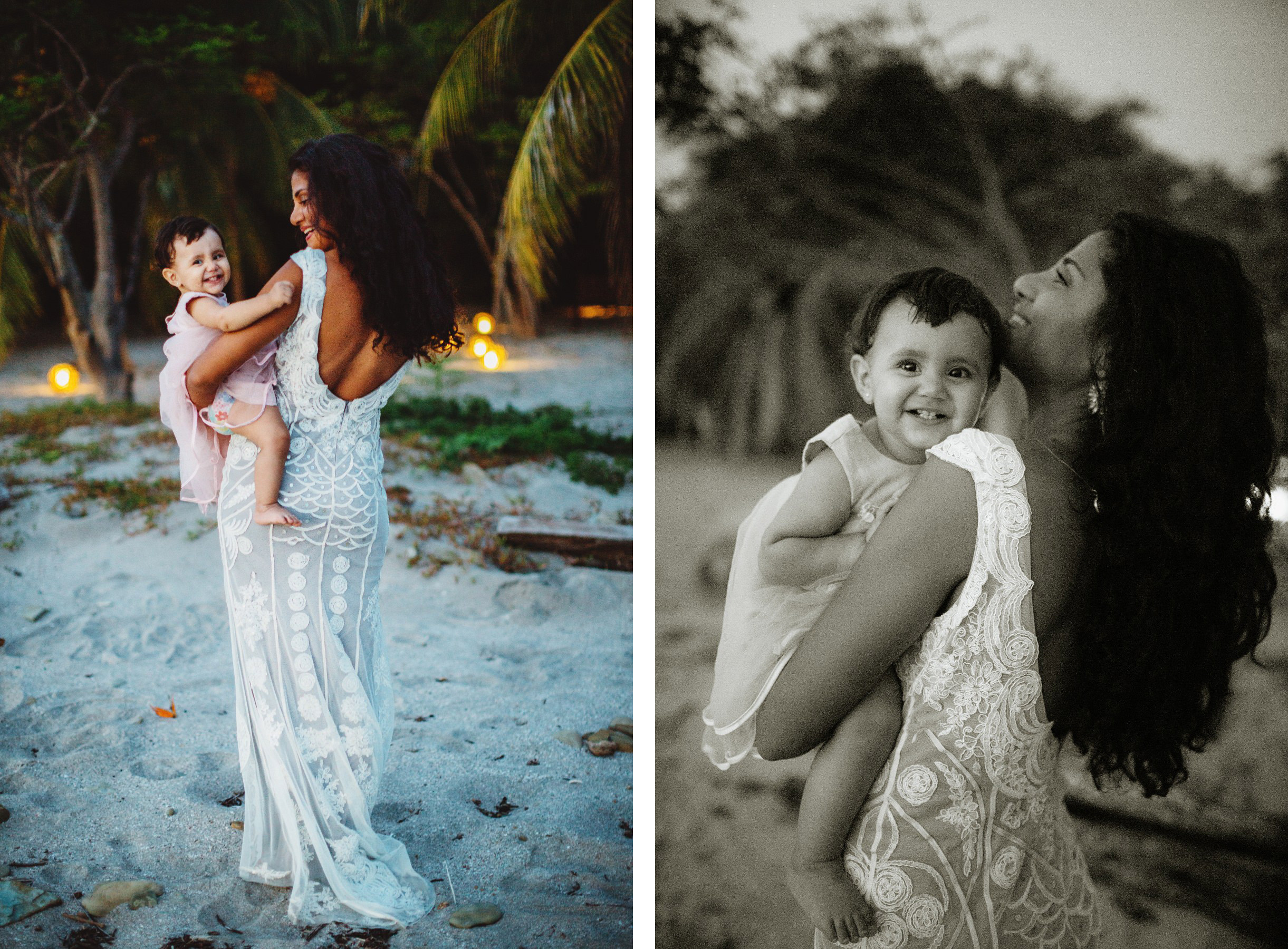 The Bride with her daughter - portrait at the beach